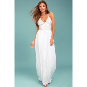 MEET ME IN MADRID WHITE BEADED MAXI DRESS
